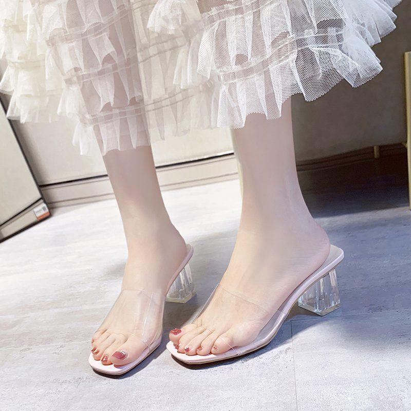 夏季新款高跟粗跟透明水晶跟外穿女凉拖百搭性感女拖鞋女鞋潮