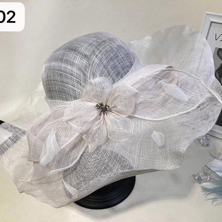防紫外线大沿麻纱帽子亚麻优雅花朵大檐遮阳帽女士沙滩防晒摄影楼
