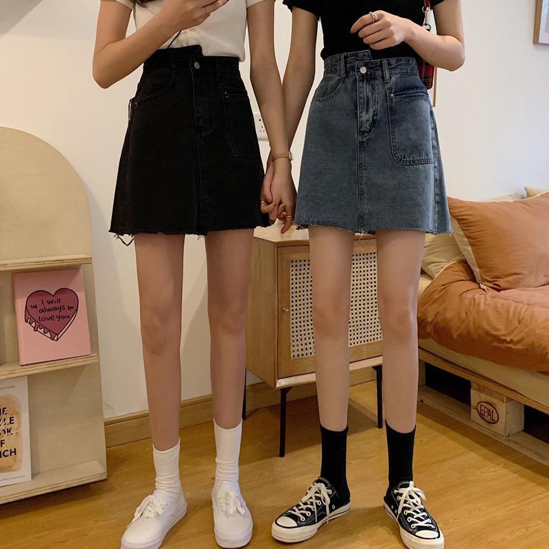 2021年高腰牛仔半身裙夏季a字女不规则大码胖mm包臀裙时尚短裙子