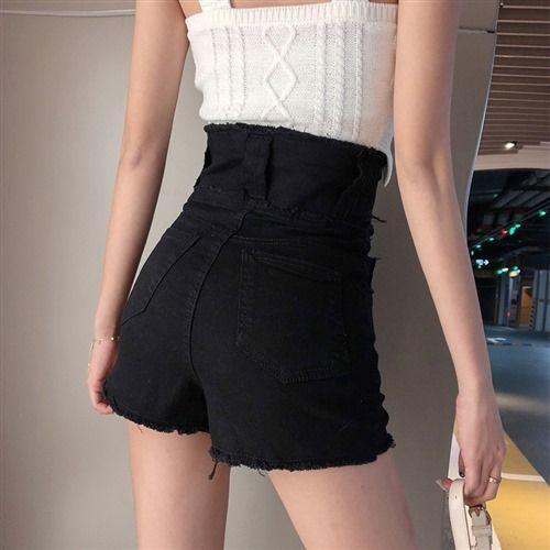 54186-2021黑色牛仔短裤女夏新款时尚韩版高腰拉链显瘦热裤牛仔短裤女-详情图