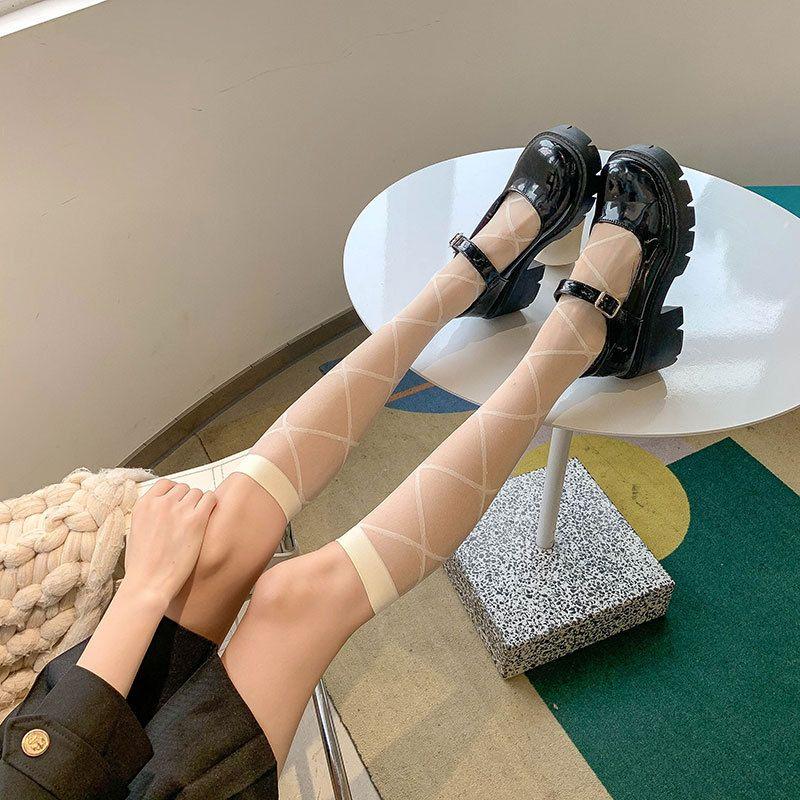 透明小腿袜白色袜子女jk夏季薄款长筒女袜日系ins潮学院丝袜及膝