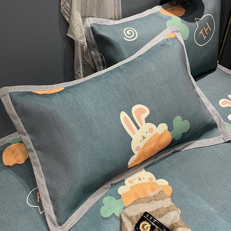 冰丝枕套一对装双人家用夏天单人单个儿童夏季凉爽凉席枕芯枕头套