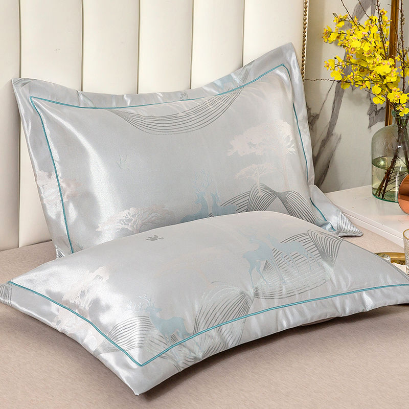 夏季冰丝枕套一对装凉爽凉席枕头套忱头外套枕席夏天单人单个套子
