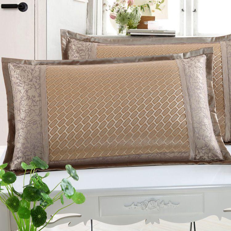 夏季冰丝枕头套双面夏天凉爽凉席枕套单人枕席成人藤枕芯套一对装