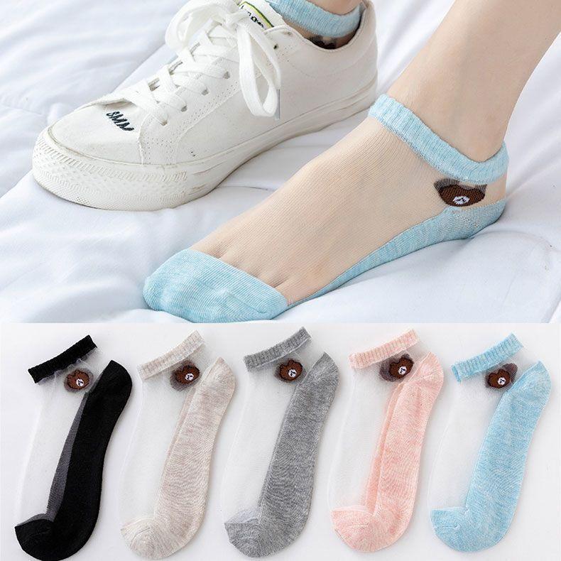 袜子女夏季薄款低帮隐形船袜玻璃丝短袜可爱小熊水晶透明女士袜子