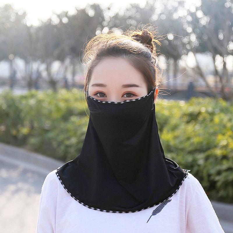 挂耳面纱围巾面罩遮全脸防紫外线骑行夏天冰丝头套女