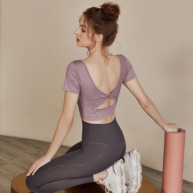 54266-带胸垫健身服女夏季网红运动上衣跑步专业训练显瘦瑜伽短袖T恤女-详情图