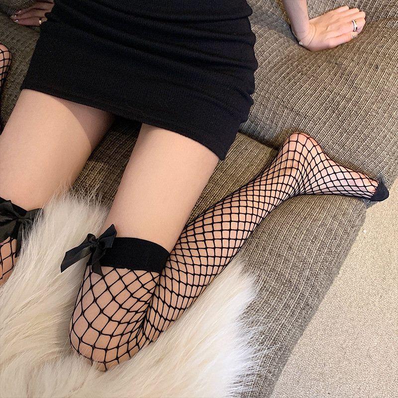夏季薄款韩系可爱蝴蝶结渔网袜性感蕾丝大网格丝袜过膝袜洛丽塔