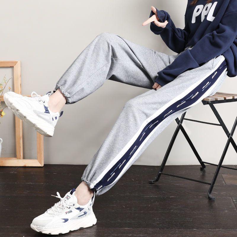 75715-休闲运动裤女春秋灰色束脚裤子学生韩版宽松显瘦九分裤直筒阔腿裤-详情图