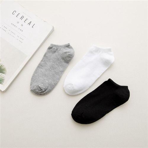 万亿足白色船袜男士透气短筒男袜子纯色短袜W