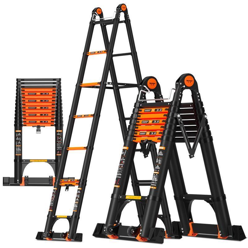 巴芬加厚铝合金多功能伸缩梯工程人字家用折叠梯升降楼梯便携梯子