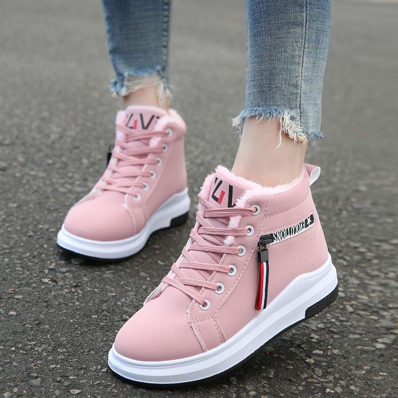 棉鞋女冬季新款韩版百搭潮学生二棉靴子高帮加绒短筒雪地靴女