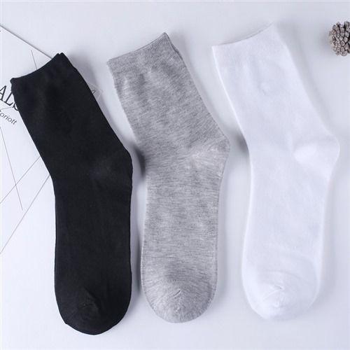 袜子男中筒纯夏季成人短袜四季纯白黑中年长袜WZ
