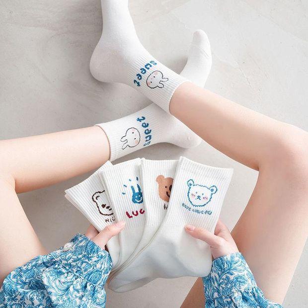 5双装袜子女中筒可爱日系夏季薄款韩版学生卡通网红白色袜子ins潮