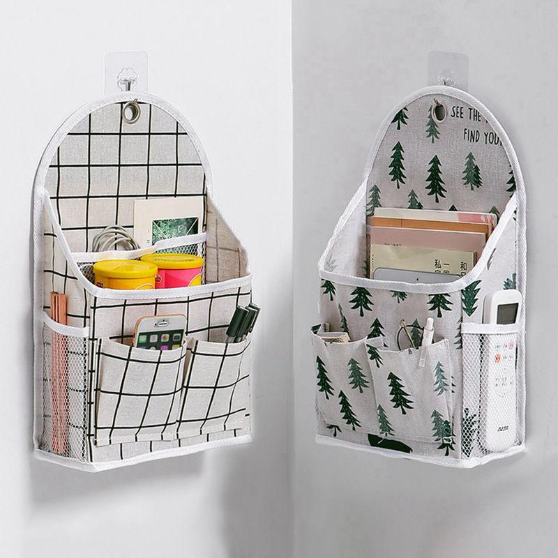 悬挂式格子收纳袋宿舍好物必备床边布艺储物袋墙面置物袋小布袋子