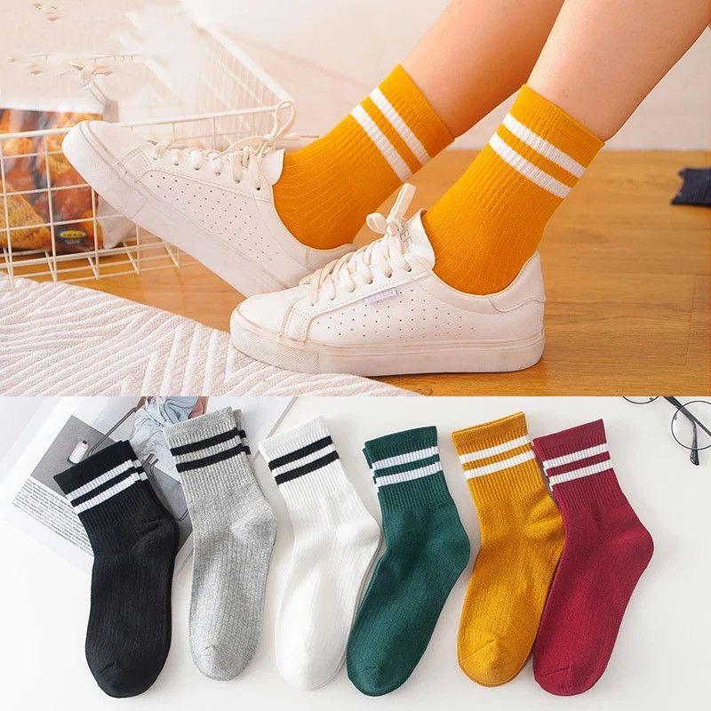 袜子女韩版中筒春夏长袜双杠日系可爱学院风长筒袜潮流