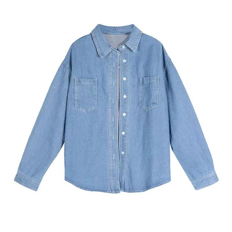 88795-牛仔衬衫女早春2021年新款宽松外穿百搭中长款设计感衬衣长袖上衣-详情图