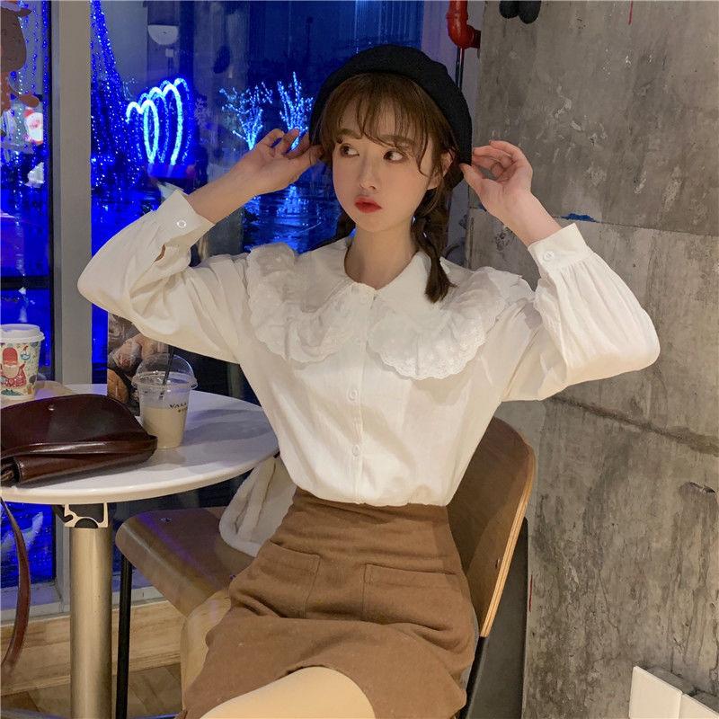 88915-春夏韩版chic气质娃娃领白衬衫学生休闲长袖打底衫衬衣内搭上衣女-详情图
