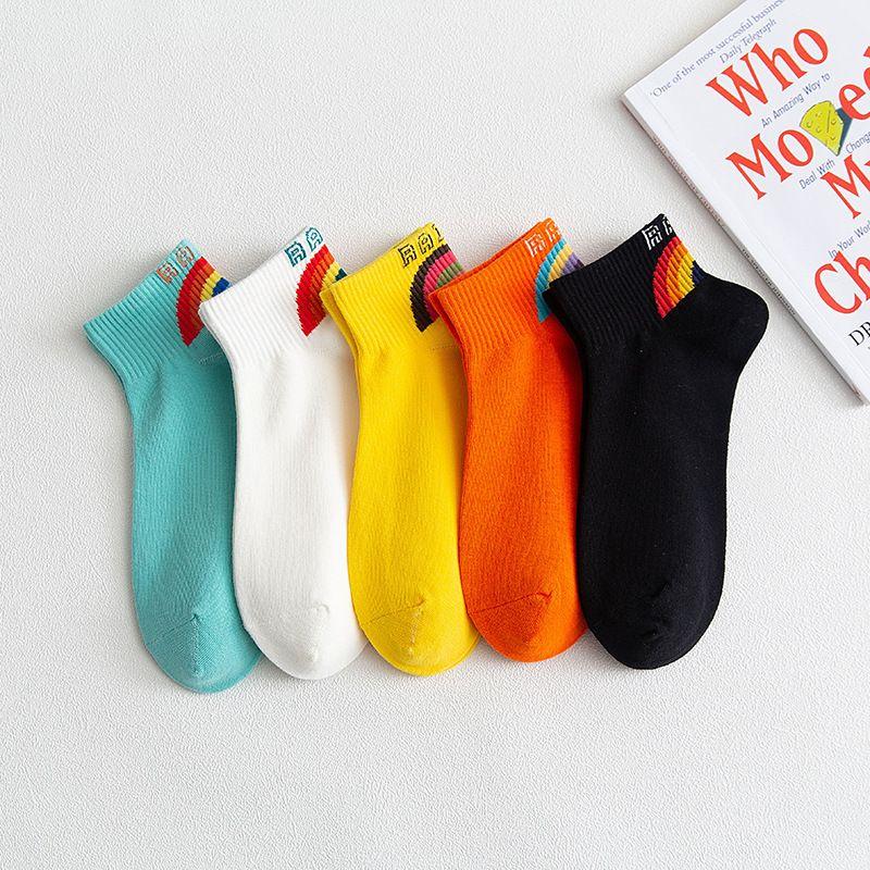 2021全棉时尚女船袜吸汗透气 女士浅口袜子 后腰彩条隐形女袜