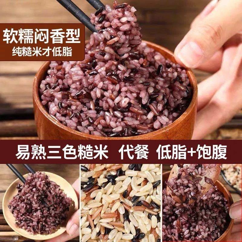 5斤新三色糙米红米黑米减孕妇低脂健身代餐胚芽饭五谷杂粗粮粥1斤