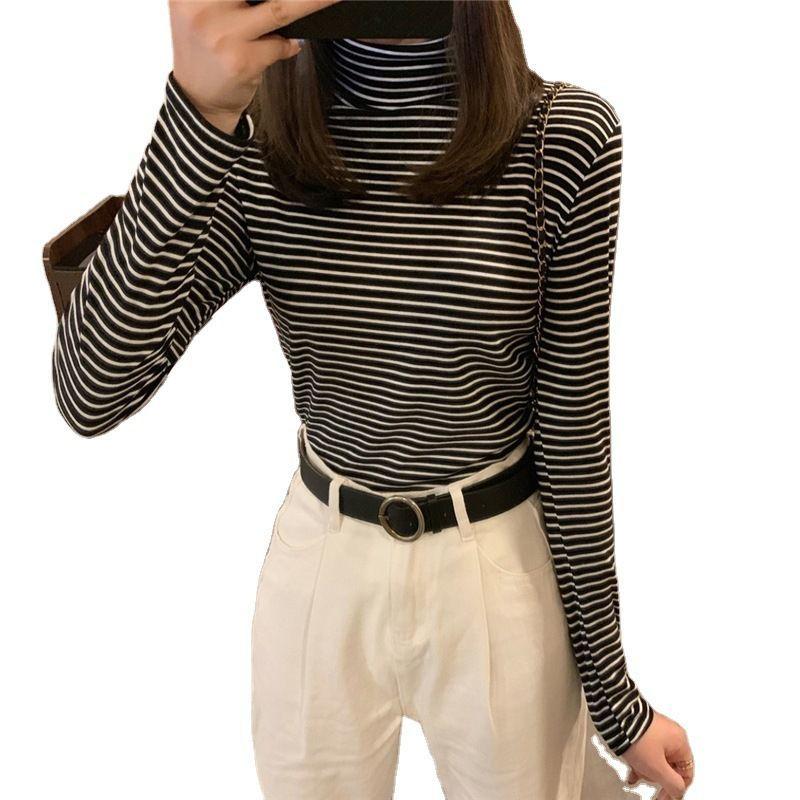 77068-春秋新款半高领条纹打底衫女修身内搭学生长袖T恤女黑白上衣女装-详情图