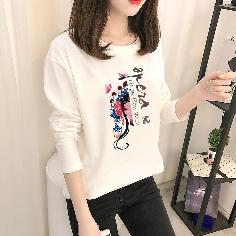 77451-2021秋装新款时尚长袖T恤女装国风复古印花t恤白色圆领女士上衣潮-详情图