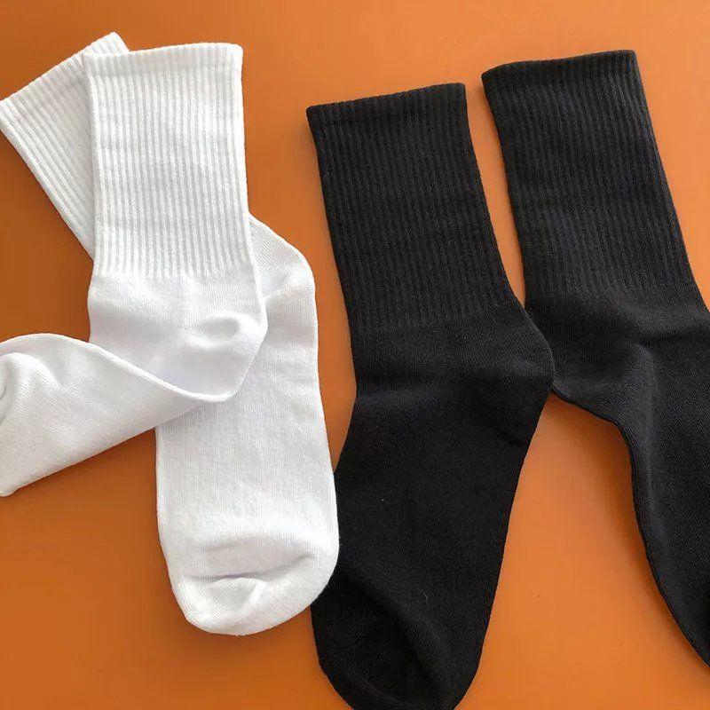 日系韩版纯色长袜子男女学生运动中筒袜学院风简约百搭网红长筒袜