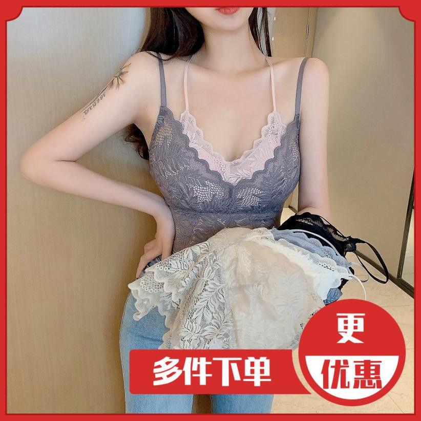 网红爆款女乳胶杯蕾丝吊带美背抹胸裹胸假两件背心内搭设计小众感