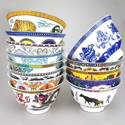 龙碗顶舞碗蒙古民族跳舞碗复古米饭大碗酥油茶陶瓷奶茶碗舞蹈汤碗