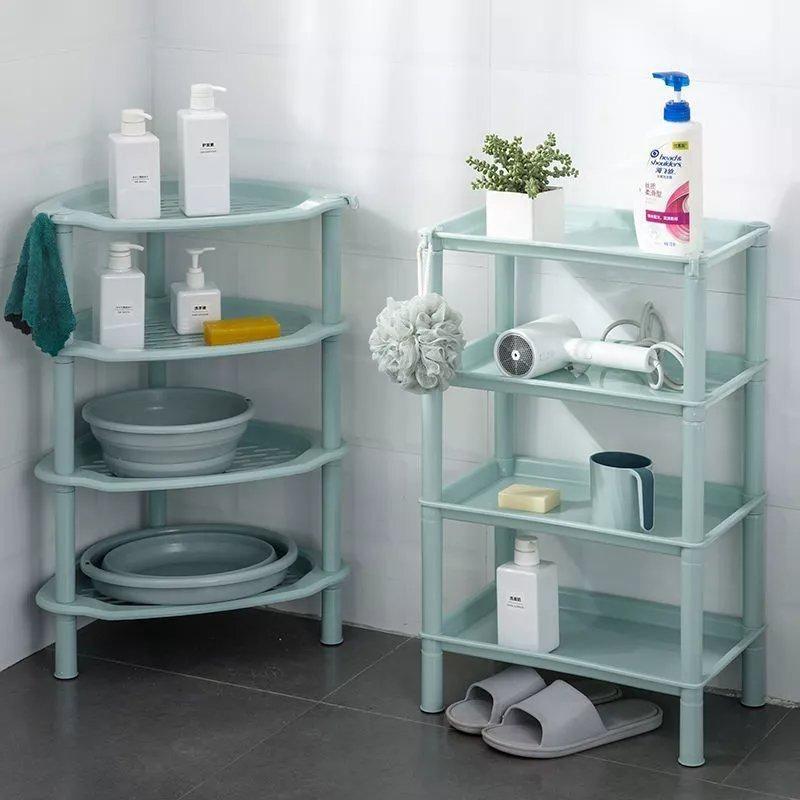 浴室置物架洗澡间厕所洗手间卫生间落地盆架脸盆收纳架落地式三角