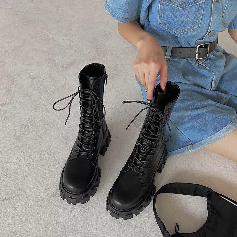 骑士靴军靴马丁靴子女2021春秋款ins百搭防滑厚底侧拉链中筒靴潮