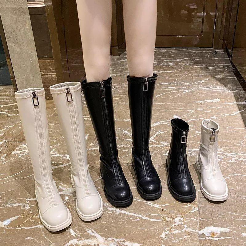 瘦瘦弹力靴加绒前拉链百搭长筒靴女显高显瘦不过膝高筒平底骑士靴