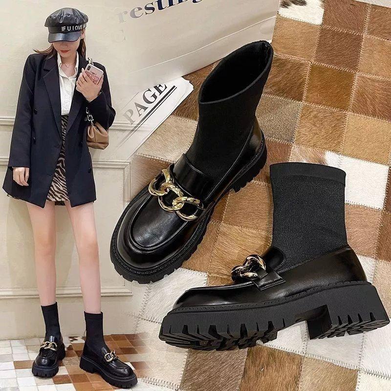 马丁靴女2021年新款弹力袜靴子女短筒增高厚底英伦风短靴春秋单靴
