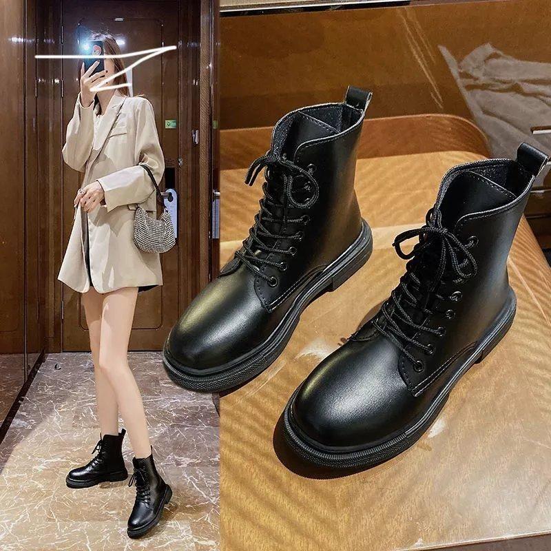 马丁靴女英伦风2021新款女学生韩版秋冬加绒短筒靴百搭平底短靴子