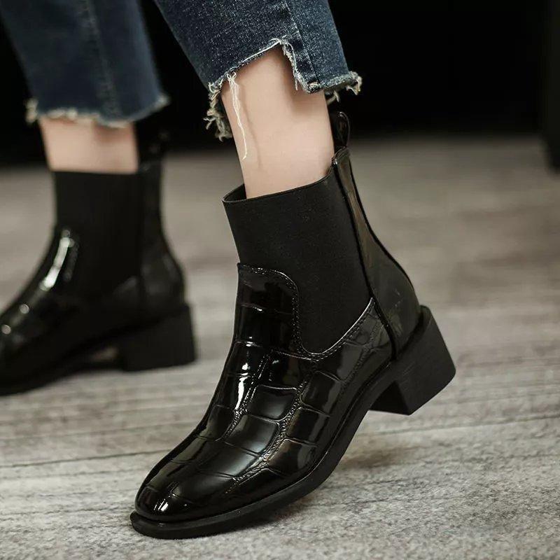 一脚蹬弹力橡筋短靴2020新款秋冬季鳄鱼纹镜面皮马丁靴粗跟及裸靴