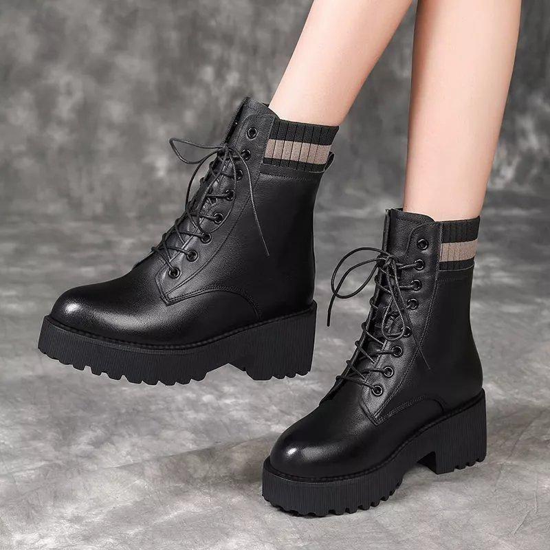 马丁靴英伦风女2020秋冬韩版新款加绒加厚短筒靴厚底百搭雪地靴女