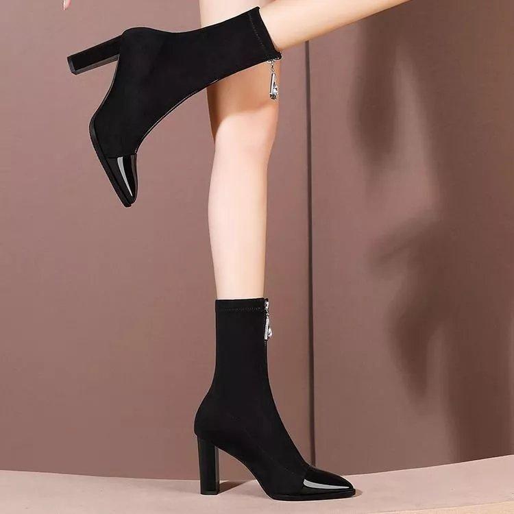 粗跟短靴女中跟秋冬新款时尚尖头袜靴黑色中筒高跟靴子显瘦弹力靴