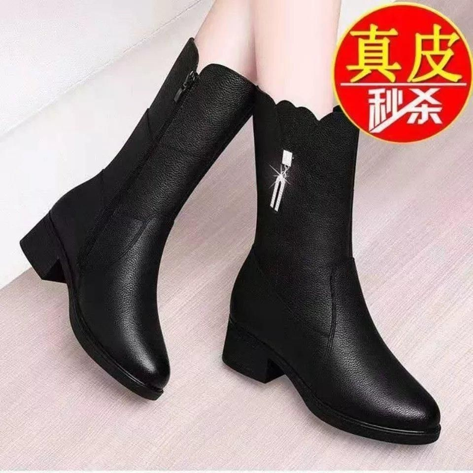 意尓?真皮中筒靴女秋冬新款加绒保暖马丁靴中跟粗跟女士棉靴子