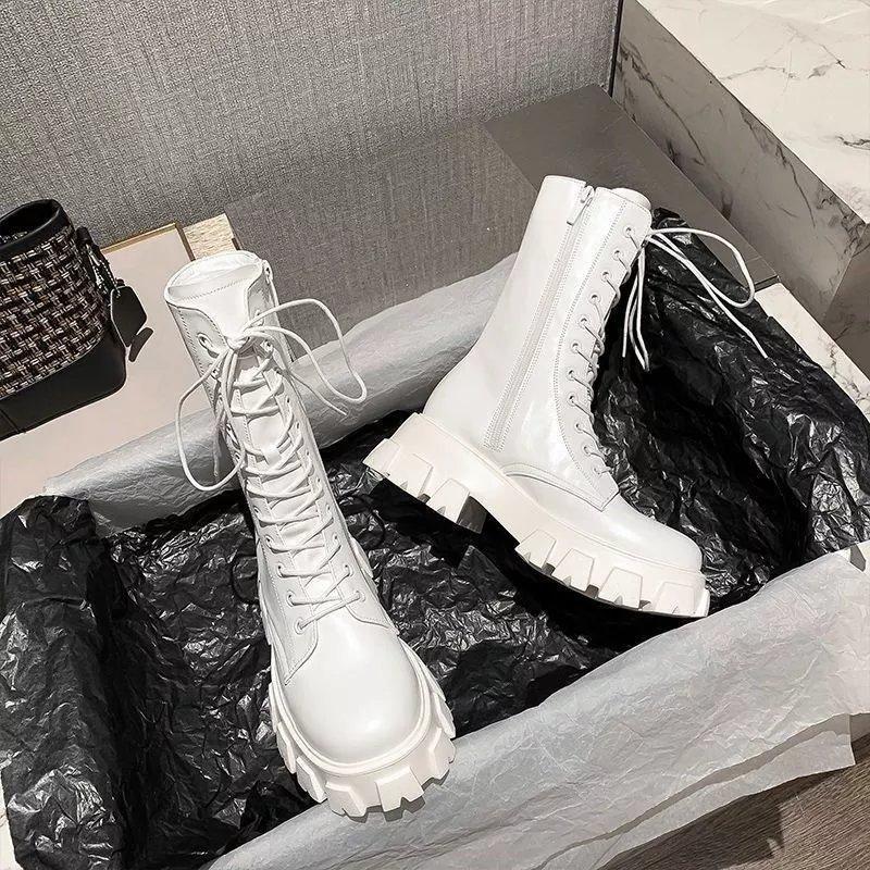 英伦风马丁靴女潮ins酷2021夏季薄款厚底中筒靴瘦瘦白色短靴增高
