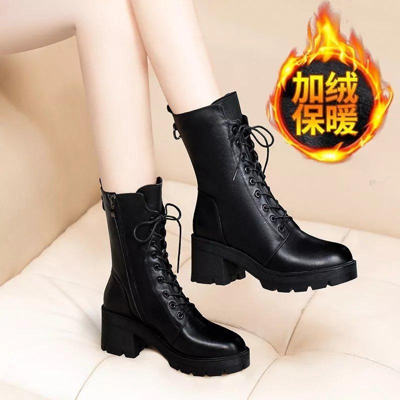 2021新款马丁靴女粗跟系带中筒靴女平底秋冬季鞋子中粗跟防滑军靴