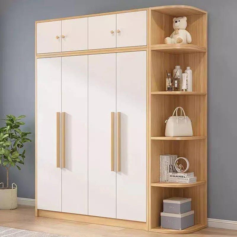 衣柜实木质对开门简约北欧风家用卧室经济型衣橱成人简易板式衣柜