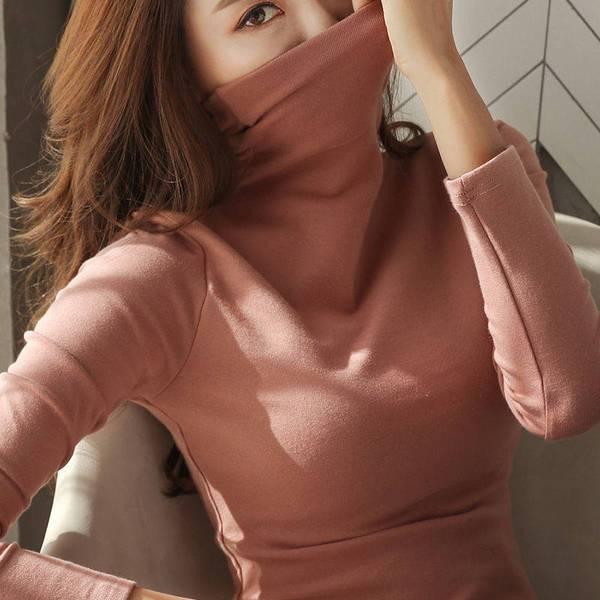 88712-2021秋冬高领打底衫女长袖纯色韩版女装保暖修身显瘦体恤女上衣-详情图