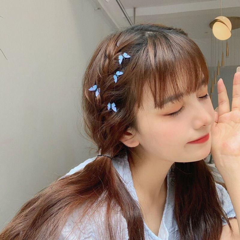韩版蓝色蝴蝶发夹小号一字夹可爱边夹ins网红超仙发卡新款网红夹