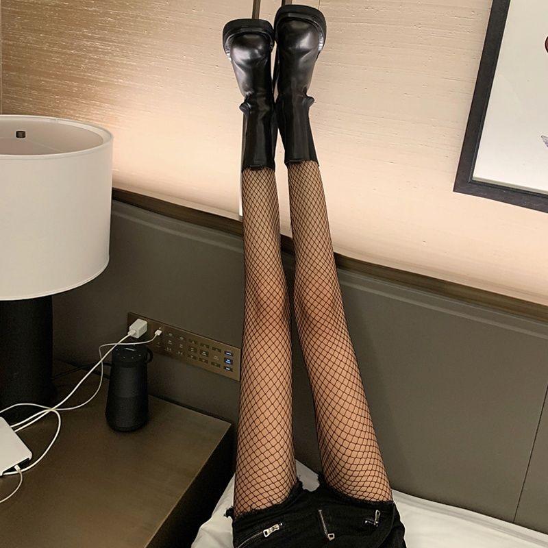 袜子春秋2021新款韩版网红性感渔网袜美腿袜百搭薄款黑色打底