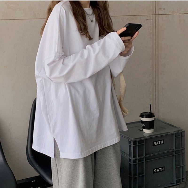 54308-棉2021春秋季新款打底衫内百搭长袖开叉t恤女宽松上衣女前短后长-详情图