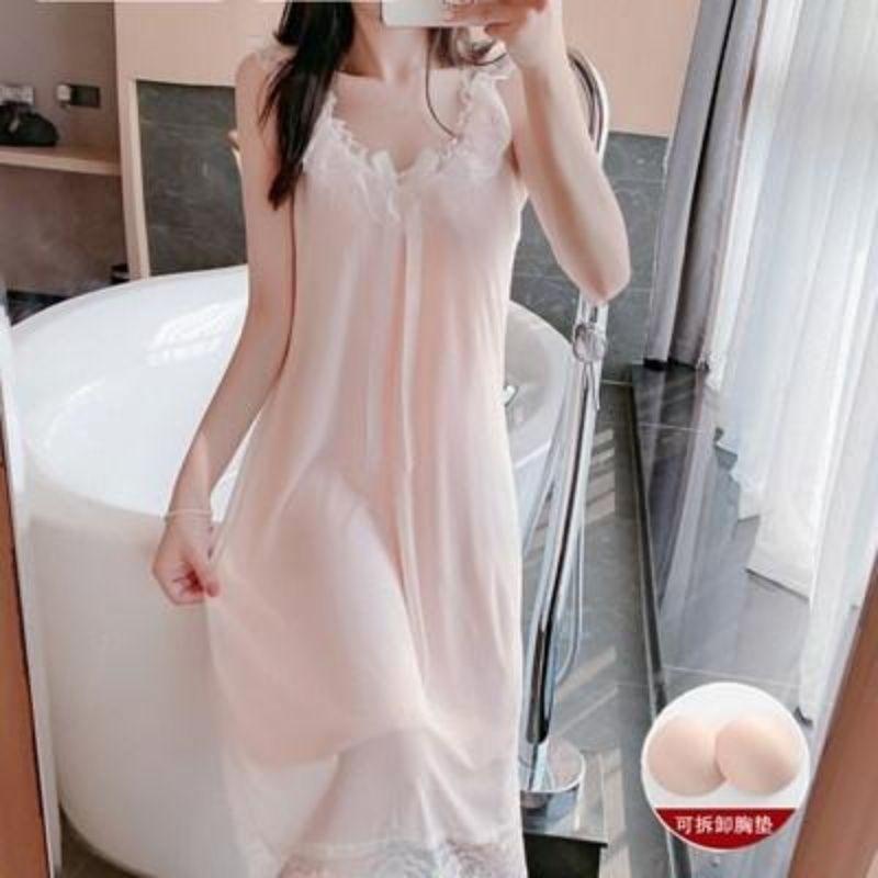 睡裙女夏季吊带性感薄款蕾丝睡衣孕妇带胸垫纯棉莫代尔宫廷公主风