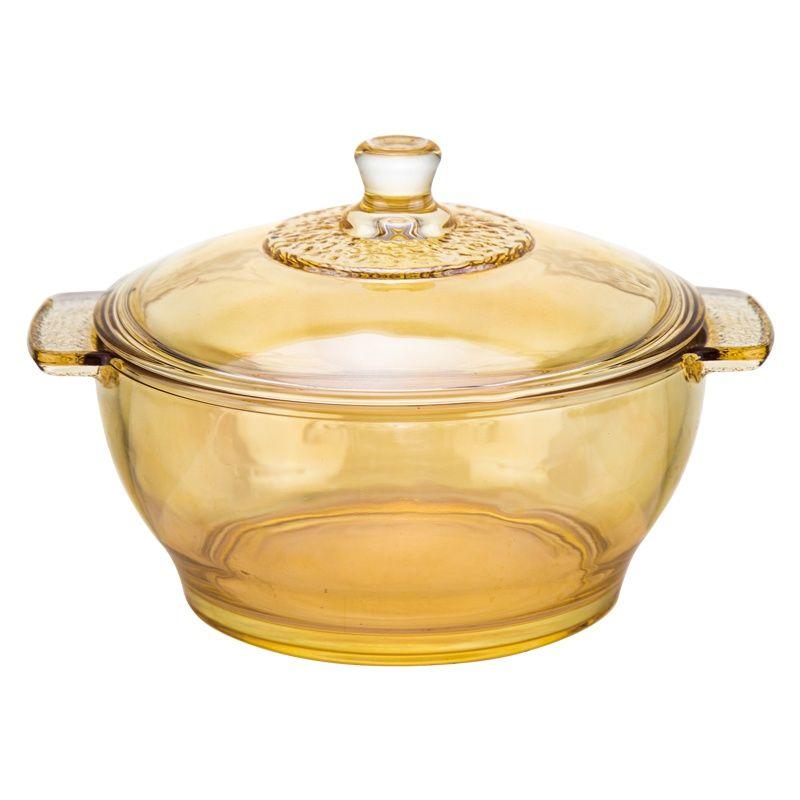 大号玻璃碗家用耐热加厚双耳碗汤锅泡面碗带盖沙拉碗水晶煲餐具碗